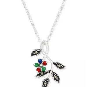 Cubic Zirconia and Marcasite Pendant Necklace